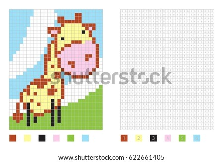 Pixel Cartoon Giraffe Coloring Page Numbered Stock Vector Royalty