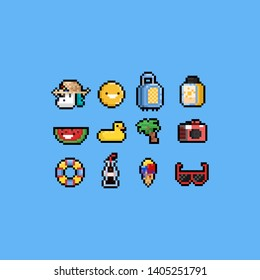 Pixel cartoon summer icon set.8bit.Holiday.