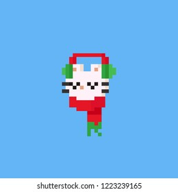 Pixel cat head with red scarf and ear warmer.Christmas,8bit.