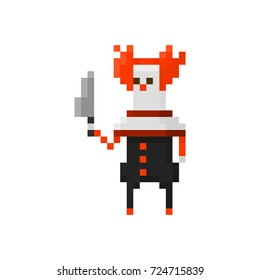 Pixel character angry clown for games and applications