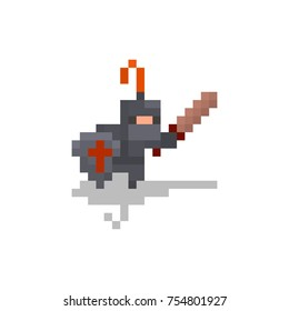 Pixel character knight for games and web sites