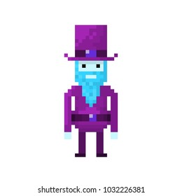 Pixel character man with the beard in top hat for games  and websites