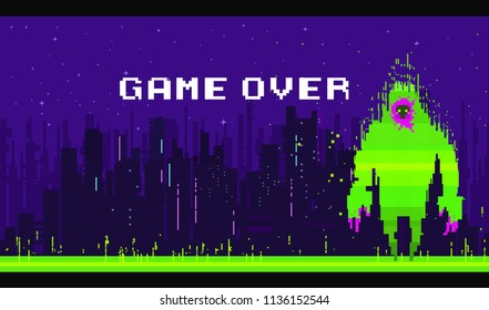 Pixel character monster for games and applications. Halloween character. Pixel art game background with, ground, landscape, sky, silhouette city, and stars. Background with gradient.
