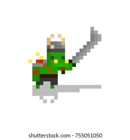 Pixel character orc warrior for games and web sites