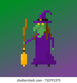 Pixel character witch for games and applications