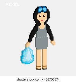 Pixel character - woman. Vector illustration in the style of old-school pixel art.