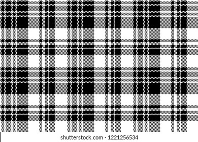 Pixel check fabric texture black white seamless pattern. Vector illustration.