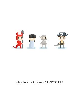 Pixel children in fantasy costume.halloween.8bit character.