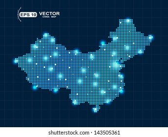 Pixel China map with lights effect presentation
