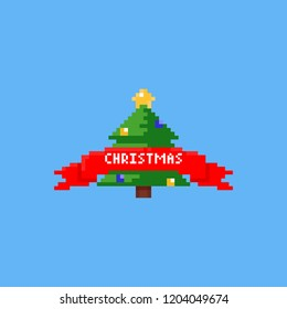 Pixel christmas tree with red ribbon.8bit.