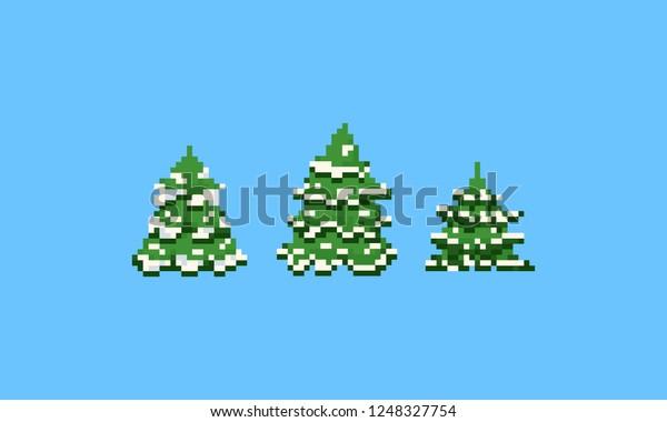 Image Vectorielle De Stock De Pixel Sapin De Noël Avec Neige