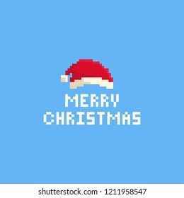 Pixel Christmast hat with text.8bit.