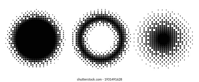 pixel circles and frames halftone style set