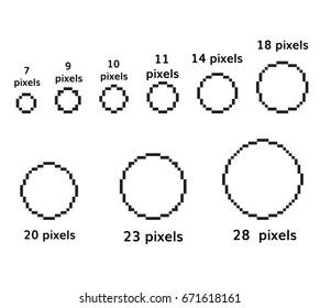 pixel circles set 9 pixel round template square circle