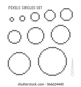 Pixel circles set. Isolated vector illustration.