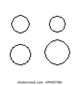 pixel circles set 9 pixel round stock vector royalty free