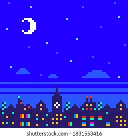 Pixel City Skyline at Night