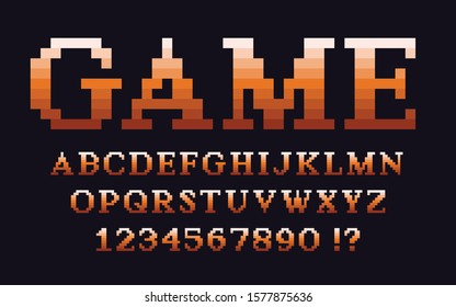 Pixel classic serif font with gradient Video computer game design 8 bit retro letters and numbers Vector alphabet