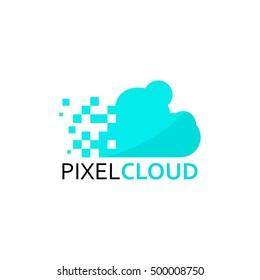 Pixel Cloud Logo Design Vector