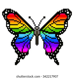 Pixel colorful butterfly high detailed isolated vector