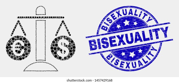 Pixel compare euro dollar mosaic icon and Bisexuality seal. Blue vector round distress seal stamp with Bisexuality message. Vector composition in flat style.