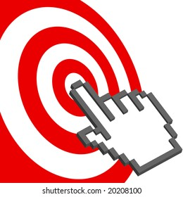 A pixel computer cursor hand icon clicks on the bulls eye of a red target.