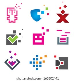 Pixel computer programming logo and internet protection icon set template