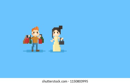 Pixel couple with shopping bags character.8bit.
