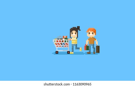 Pixel couple with shopping cart.8bit character