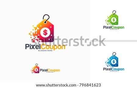 Pixel Coupon Logo Designs Concept Vector Stock Vector Royalty Free