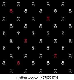 Pixel crossbones seamless background, combined by crisp Jolly Roger signs. Grey and bloody crimson tiled skulls hints at a conceptual conflict between cyber crime and intellectual property defenders.