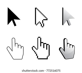 Pixel cursor icon. Mouse cursors big set.