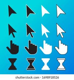 Pixel cursor pointer, hand, arrow, hourglass, click, press vector icons. Cursor symbol, hand arrow cursor icon. Eps 10 vector illustration.