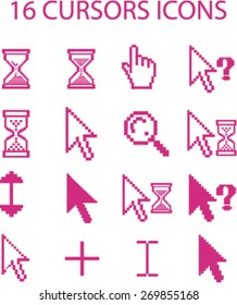 pixel cursors, hand, click, search, direction, update, select isolated flat icons, signs, symbols illustrations, images, silhouettes on background, vector