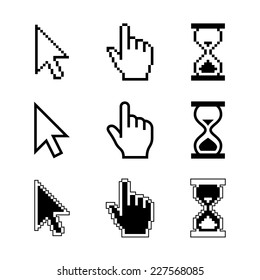 Pixel cursors icons - mouse cursor hand pointer hourglass. Vector illustration.