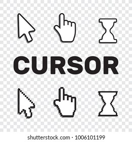 Pixel cursors icons mouse hand arrow. Mouse computer cursor. Hand arrow web cursor set
