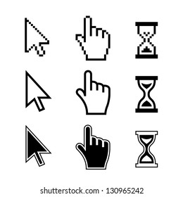 Pixel cursors icons: mouse hand arrow hourglass. Vector Illustration