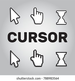 Pixel cursors icons mouse hand arrow. Mouse computer cursor. Hand arrow web cursor set