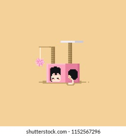 Pixel cute cat sleeping inside the cat condo.8bit.