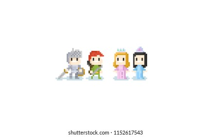 Pixel cute children in fantasy costume.halloween.8bit knight and princess.