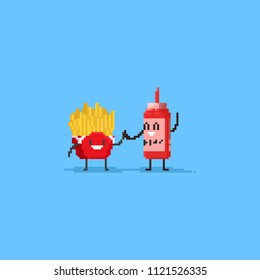 Pixel cute french fries and ketchup does the high five.Friendship day.8bit character.