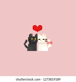 Pixel cute white and grey cat with red heart.Valentine's day.8bit.