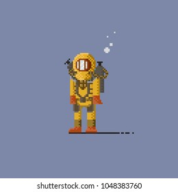 Pixel deep sea diver in yellow suit.8bit art vector illustration.