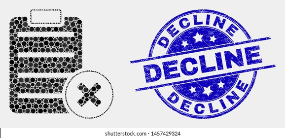Pixel delete report page mosaic pictogram and Decline stamp. Blue vector rounded scratched seal stamp with Decline title. Vector collage in flat style.