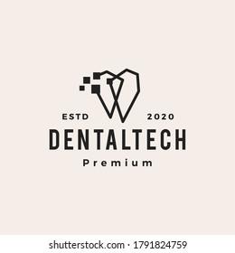 pixel dental digital hipster vintage logo vector icon illustration