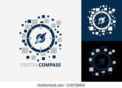 Pixel Digital Compass Logo Template Design Vector, Emblem, Design Concept, Creative Symbol, Icon