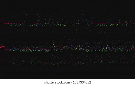 Pixel distortion of the screen of an old analogue TV. Color digital noise on a dark background. Vector illustration.