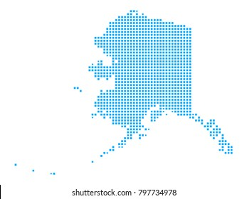 Pixel mosaicblue dot map on white background of map of alaska symbol for your web site design map logo, app, ui, Travel vector eps10, concept Illustration.