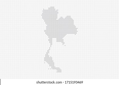 Pixel dotted map of Thailand in grey. Vector illustration EPS10.