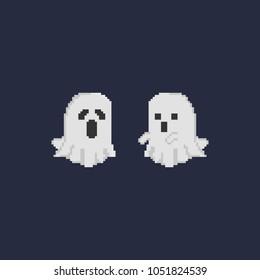 Pixel double halloween ghost.pixel art vector illustration.retro design.